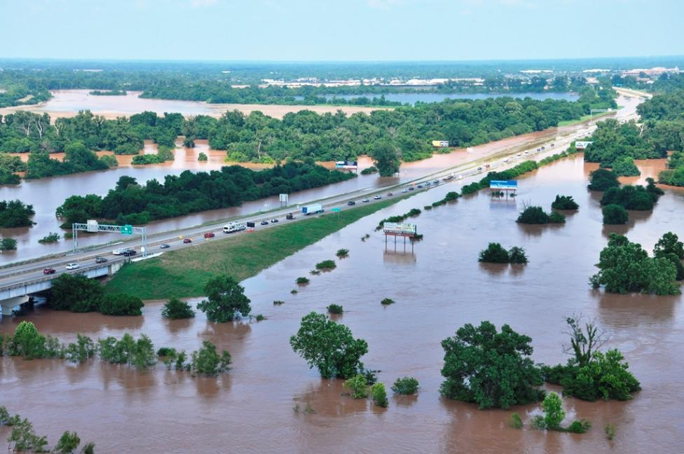 Flood waters from the Red River engulf the I-220 in Bossier City