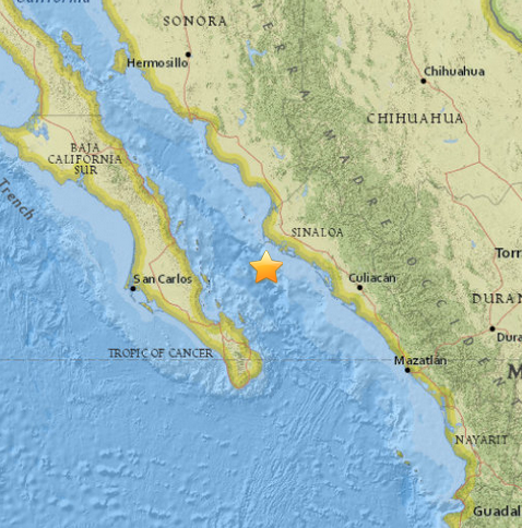 M6.6   59km SSW of Topolobampo  Mexico